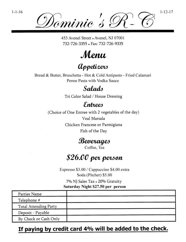 BYOB restaurants woodbridge NJ _Dominic's Italian Restaurant_Avenel
